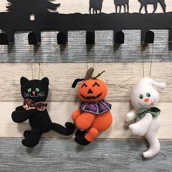 Halloween decorating plush dolls black cat/pumpkin/ghost hanging bar family Halloween party decorating children's gifts