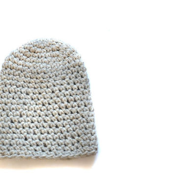 Slouchy Ivory Grey Hat - Sand Color - Super Soft Knitted Hat in Grey Yarn - Unisex Accessories - Hand Knitted Gifts - Cosy and Soft