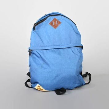 70s KELTY Blue Nylon RUCKSACK / Rare Teardrop Leather Trim BACKPACK