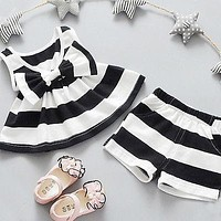 Girls Bow tie Tank Tops Dresses+Shorts Pants Clothing Sets Striped clothing Baby girls clothing sets girls clothes