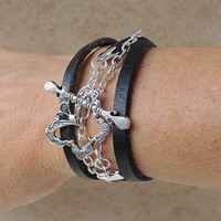 Black Butterfly Leather Bracelet, Leather and Chain with Vintage Style Butterfly Toggle Clasp, Leather Jewelry, Butterfly Jewelry Jewellery