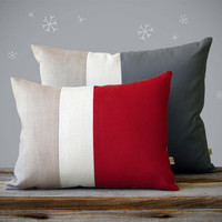 Color Block Pillow Set - (12x16) Red and (16x20) Gray by JillianReneDecor | Winter Home Decor | Set of 2 | Holiday Decor | Custom Colors