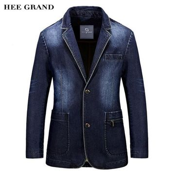 HEE GRAND Men Fashion Demin Blazer 2018 New Arrival Full Sleeve Straight Single Breasted Spring Suits Plus Size M-3XL MWX389