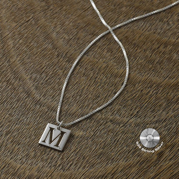 "Personalized necklace with 0.80"" square pendent - 925 sterling silver"