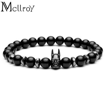Mcllroy Beads Bracelet Men Black Batman Charm Bracelet 8mm Black Natural Stone Buddha Bracelet Men jewelry friend gift Pulseira