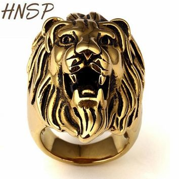 HNSP Trendy Gold / Silver Color Lion head Animal Rings For Men Quality fashion Male ring anel masculino Punk Gothic jewelry