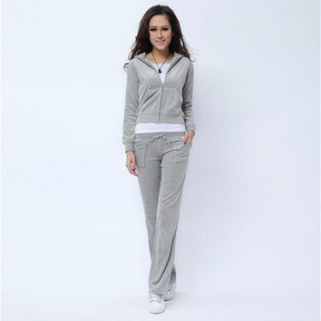 Juicy Couture Pure Color Velour Tracksuit 6047 2pcs Women Suits Grey