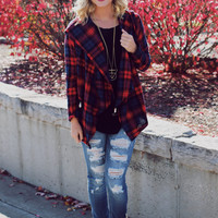 Strictly Plaid Cardigan - Red
