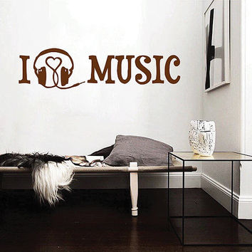 kik2852 Wall Decal Sticker headphones inscription I love music hall bedroom