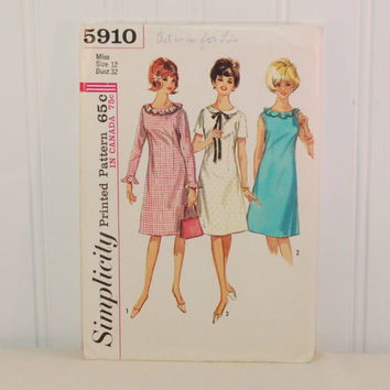 Vintage Simplicity 5910 One-Piece Dress Pattern (c. 1965) Teen, Junior and Misses Size 12, Bust Size 32 Inches, 1960's Dress, Retro Style