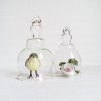 2 Vintage Glass Cloches Terrariums Home Decor Collectibles Handles Display