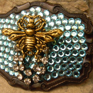 Rhinestone Queen Bee Belt Buckle,  Blue Swarovski Turquoise Pearl Crown Bumble Bee Belt Buckle, Honeybee Bumblebee Ladies Womens Belt Buckle