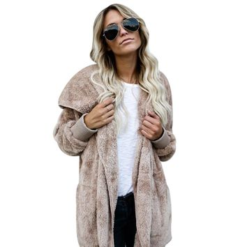 Winter Hooded Puffy Faux Fur Coat Solid