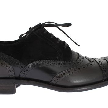 Dolce & Gabbana Black Gray Leather Oxford Wingtip Shoes