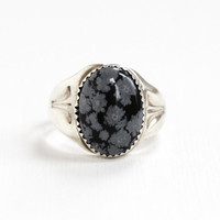 Vintage Sterling Silver Snowflake Obsidian Ring - Size 12 1/2 Men's Oval Black & White Gem Cabochon Southwestern Statement Jewelry