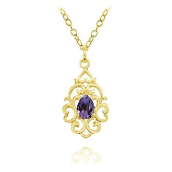 Filigree Heart African Amethyst Teardrop Necklace in Gold Plated Sterling Silver