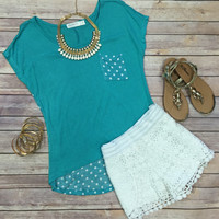 Pretty Polka Dot Tee: Mint