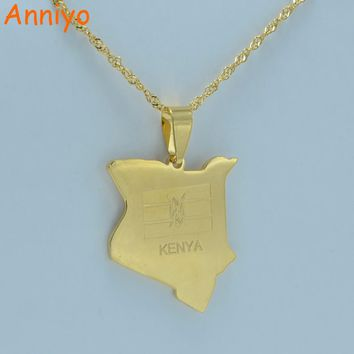 Anniyo map of kenya pendant necklaces jewellery gold color africa country map jewelry kenyans gift #002221