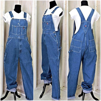 90s bib overalls /  USA Works / USA made / Mens / Womens / Utility / wide leg / grunge / size M / 35 X 34