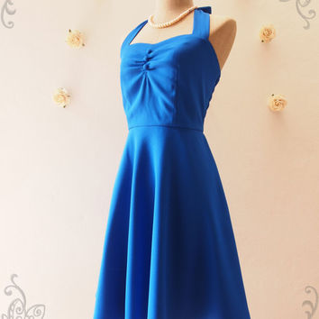 Royal Blue Bridesmaid Dress Vintage Halter Dress Blue Casual Dress 50's Style Party Dress Beach Retro Dress Tea Length Dress -XS-XL,Custom