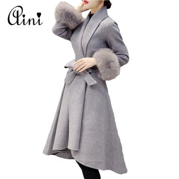 2017 Autumn Winter Women Woolen Coat Outerwear Female Medium-long Trench Sweet Fur Sleeve Casual Wool Jacket Coat Plus Size 3XL