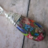 FREE SHIPPING!! Sterling Silver Rainbow Sea Sediment Jasper and Pyrite Stone Wrapped in Sterling Silver Necklace