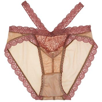 Natalie Strappy Demi High Waist Panty in Rose Petal