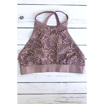 High Neck Floral Lace Bralette