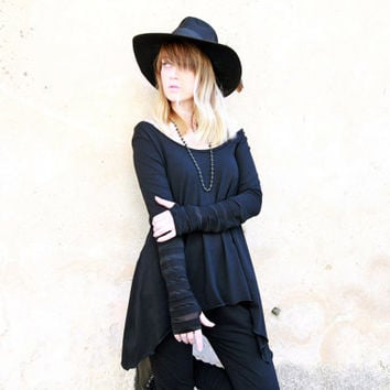 Long Sleeves Shirt, Black Goth Shirt, Loose Top, Oversized Top, Asymmetrical Shirt, Black Sweatshirt