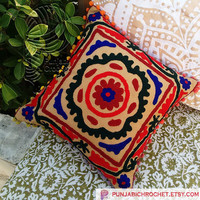 Woolen Embroidered Cushion Covers Handmade Pillows Cases Suzani Cushion Covers Christmas Gift and Home Decor Furnishing Decorative Pillows