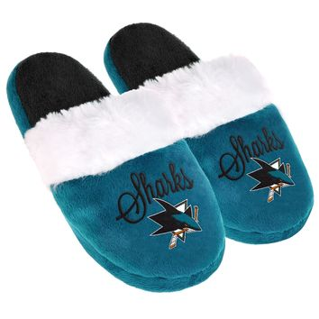 San Jose Sharks Womens Colorblock Fur Slide Slippers NHL New Style