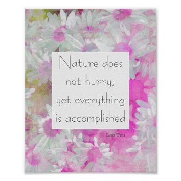 Zen quote poster flower art with text