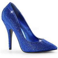 Royal Blue Rhinestone Single Sole Pump Heels Satin