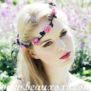 Pretty Kawaii Pretty Baby Pink Floral and Black Ivy Leaf Trim Festival Floral Grecian Fairy Hair Crown/Garland
