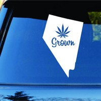 Dabbledown Decals Nevada Grown State Shape Weed Leaf Car Truck Window Windshield Lettering Decal Sticker Decals Stickers JDM Drift Dub Vw Lowered Jdm Fresh Detailed Stance Fitment 4x4