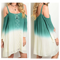"""Lovely Me"" Lace Trim Open Shoulder TieDye Jade Ivory Dress"