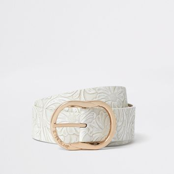 White floral embossed texture jeans belt - Belts - Accessories - women