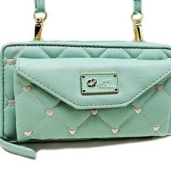 Betsey Johnson Wallet on String Mint Zip Around Wallet Clutch + Crossbody Strap