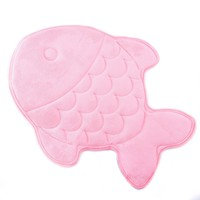 Hughapy Slow Rebound Memory Foam Children Bath Rug Christmas Fish Slip Resistant Coral Fleece Mat Doormat Carpet (Pink)