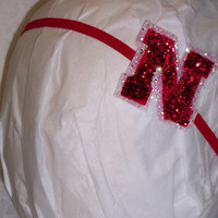 Glitz Red and White University of Nebraska Inspired Headband Infant to Adult by vonBoutiqueBows