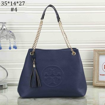 Tory Burch 2018 new fringed women's lychee embossed logo chain shoulder bag #4