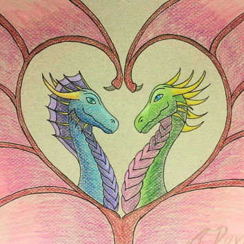 Dragon Love Coloured Pencil Drawing - Valentine Gift