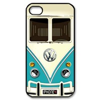 VW Volks Wagen Blue with chrome logo iPhone 4 4s Case - Black Case