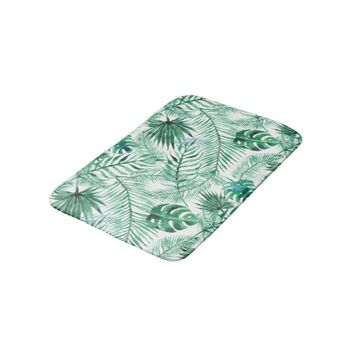 Tropical Palm Tree Leaves Pattern Bath Mat