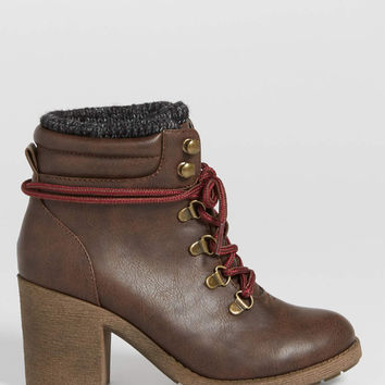 Jordanna heeled hiker bootie with knit cuff in brown | maurices
