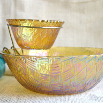 Vintage chip and dip set // Indiana glass Chip and Dip bowl/Carnival Glass Chip and Dip Set/Vintage Serving Bowl