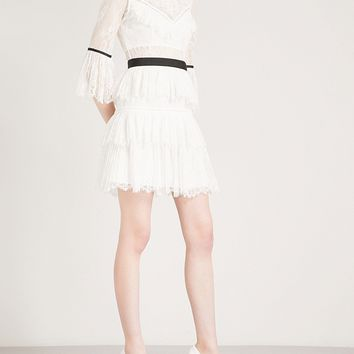 White Lace Fit And Flare Mini Dress
