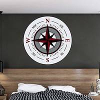 Compass Wall Decals. Nautical Compass Full Color Murals. Sea Ocean Vinyl Sticker Decal. Compass Navigation Wall Art. Compass Wall Decal Nautical Decor EN65
