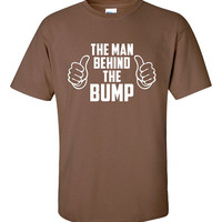 The Man Behind The Bump Funny T-Shirt Tee Shirt TShirt Mens Ladies Womens Youth Shirt Gifts for Dad Pregnant Pregnancy Father Tee DT-056