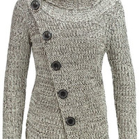 Turtleneck Long Sleeve Button Design Knitted Jacket